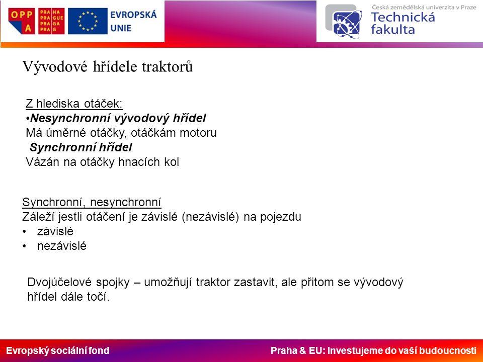 Evropský sociální fond Praha & EU: Investujeme do vaší budoucnosti Vývodové hřídele traktorů Z hlediska otáček: Nesynchronní vývodový hřídel Má úměrné otáčky, otáčkám motoru Synchronní hřídel Vázán na otáčky hnacích kol Synchronní, nesynchronní Záleží jestli otáčení je závislé (nezávislé) na pojezdu závislé nezávislé Dvojúčelové spojky – umožňují traktor zastavit, ale přitom se vývodový hřídel dále točí.