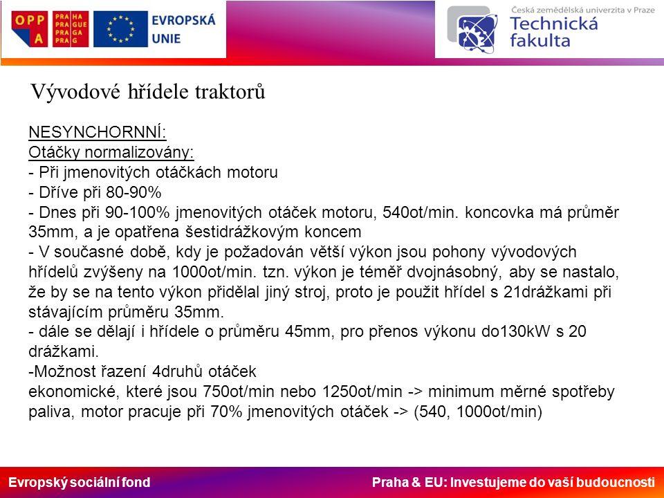 Evropský sociální fond Praha & EU: Investujeme do vaší budoucnosti Vývodové hřídele traktorů NESYNCHORNNÍ: Otáčky normalizovány: - Při jmenovitých otá