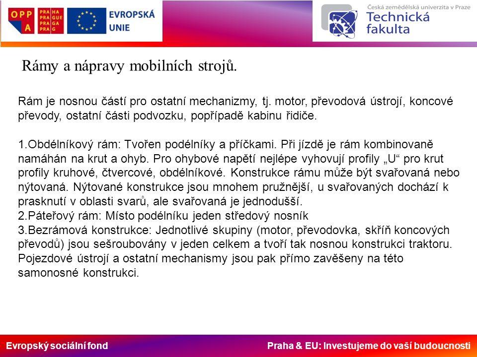 Evropský sociální fond Praha & EU: Investujeme do vaší budoucnosti Rámy a nápravy mobilních strojů. Rám je nosnou částí pro ostatní mechanizmy, tj. mo