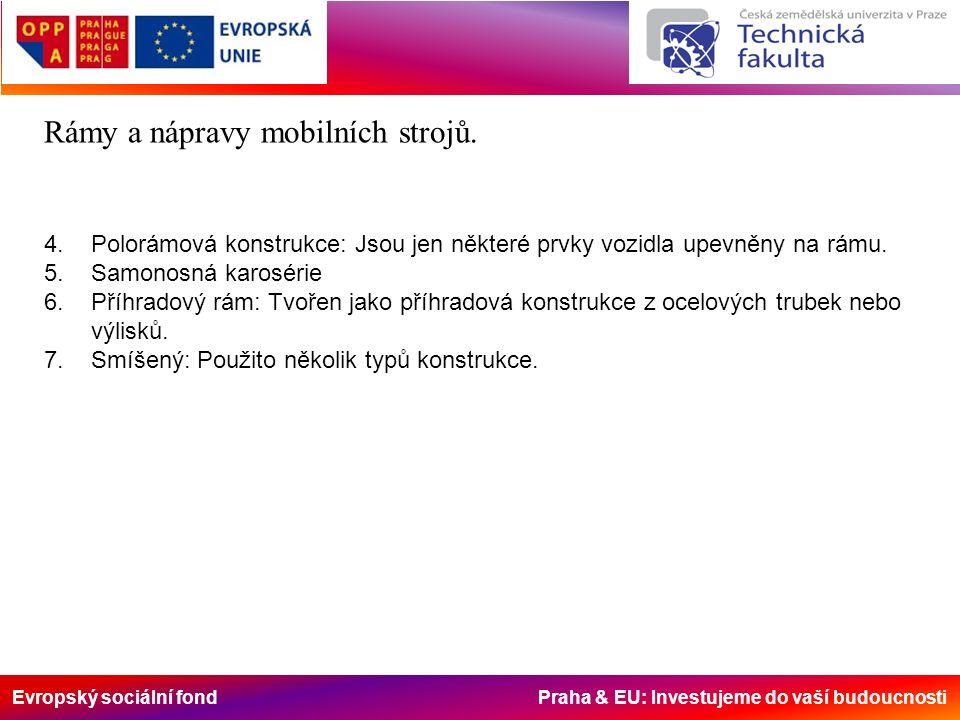 Evropský sociální fond Praha & EU: Investujeme do vaší budoucnosti Rámy a nápravy mobilních strojů. 4. Polorámová konstrukce: Jsou jen některé prvky v