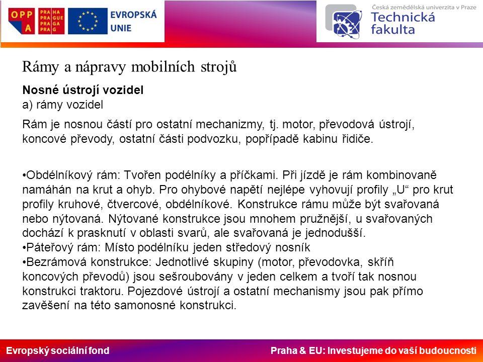 Evropský sociální fond Praha & EU: Investujeme do vaší budoucnosti Rámy a nápravy mobilních strojů Nosné ústrojí vozidel a) rámy vozidel Rám je nosnou částí pro ostatní mechanizmy, tj.
