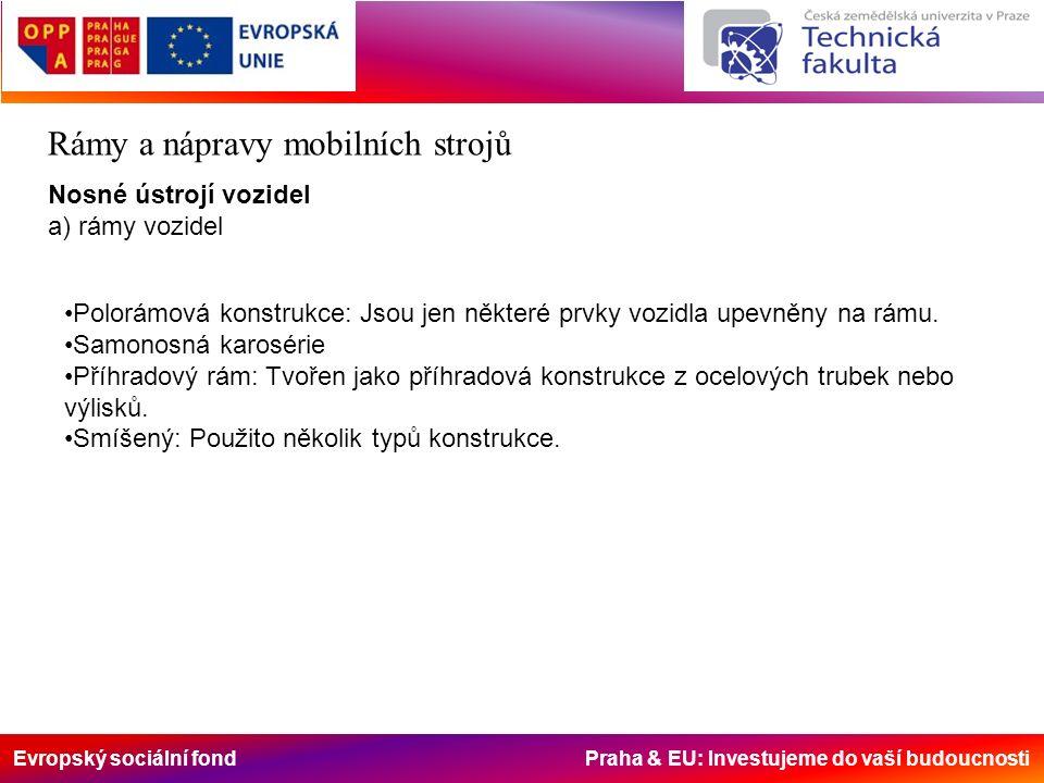 Evropský sociální fond Praha & EU: Investujeme do vaší budoucnosti Rámy a nápravy mobilních strojů Nosné ústrojí vozidel a) rámy vozidel Polorámová konstrukce: Jsou jen některé prvky vozidla upevněny na rámu.