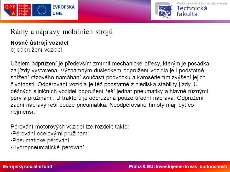 Evropský sociální fond Praha & EU: Investujeme do vaší budoucnosti Rámy a nápravy mobilních strojů Nosné ústrojí vozidel b) odpružení vozidel Účelem odpružení je především zmírnit mechanické otřesy, kterým je posádka za jízdy vystavena.
