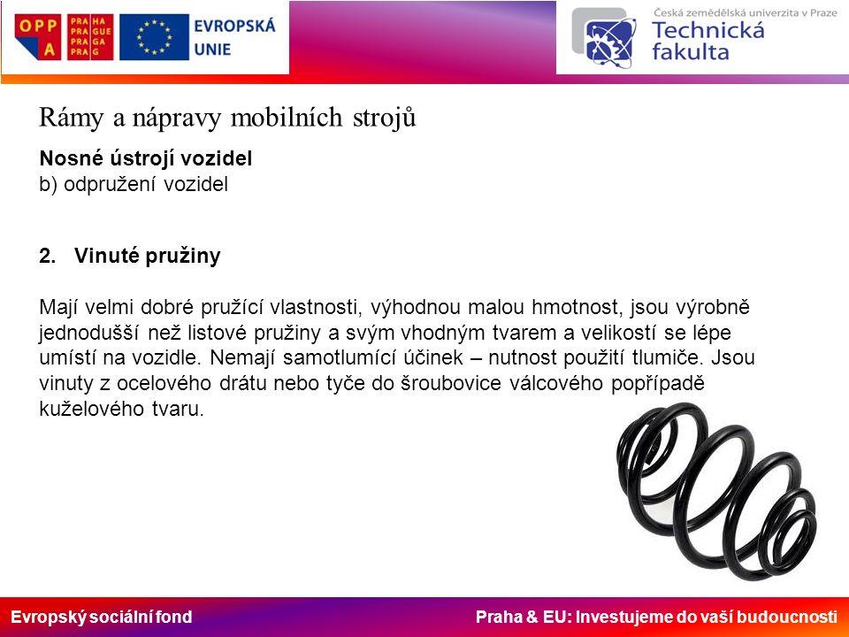 Evropský sociální fond Praha & EU: Investujeme do vaší budoucnosti Rámy a nápravy mobilních strojů Nosné ústrojí vozidel b) odpružení vozidel 2.