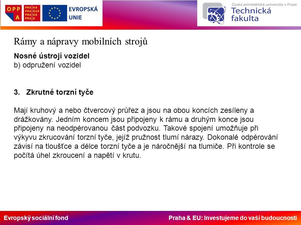 Evropský sociální fond Praha & EU: Investujeme do vaší budoucnosti Rámy a nápravy mobilních strojů Nosné ústrojí vozidel b) odpružení vozidel 3.