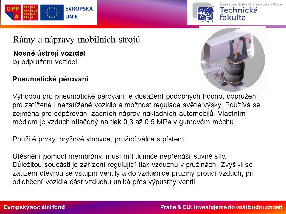 Evropský sociální fond Praha & EU: Investujeme do vaší budoucnosti Rámy a nápravy mobilních strojů Nosné ústrojí vozidel b) odpružení vozidel Pneumatické pérování Výhodou pro pneumatické pérování je dosažení podobných hodnot odpružení, pro zatížené i nezatížené vozidlo a možnost regulace světlé výšky.