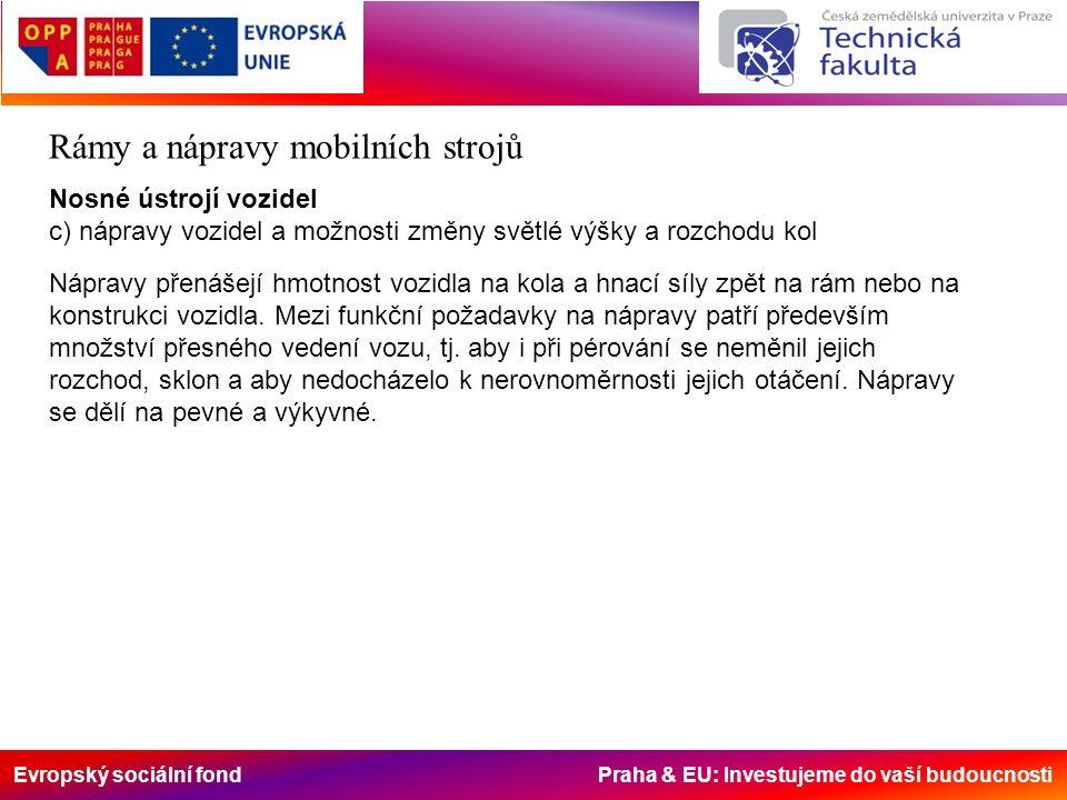 Evropský sociální fond Praha & EU: Investujeme do vaší budoucnosti Rámy a nápravy mobilních strojů Nosné ústrojí vozidel c) nápravy vozidel a možnosti změny světlé výšky a rozchodu kol Nápravy přenášejí hmotnost vozidla na kola a hnací síly zpět na rám nebo na konstrukci vozidla.