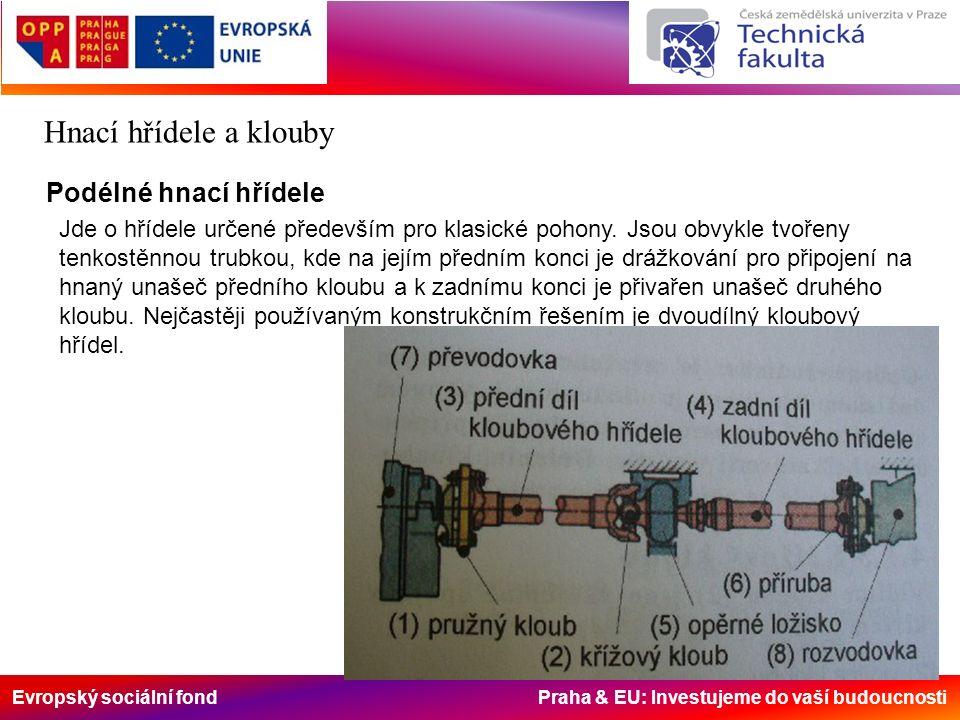 Evropský sociální fond Praha & EU: Investujeme do vaší budoucnosti Hnací hřídele a klouby Podélné hnací hřídele Jde o hřídele určené především pro kla