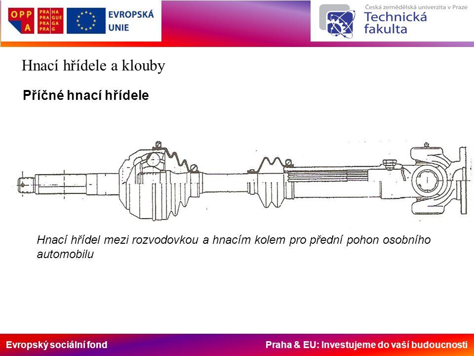 Evropský sociální fond Praha & EU: Investujeme do vaší budoucnosti Hnací hřídele a klouby Příčné hnací hřídele Hnací hřídel mezi rozvodovkou a hnacím kolem pro přední pohon osobního automobilu