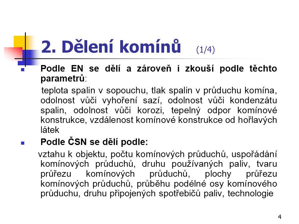 3 1. Funkce komínů dle ČSN  Komín - vzhůru vedoucí konstrukce, odvádí plynné spaliny do volného ovzduší. Skládá se z jednoho nebo více komínových prů