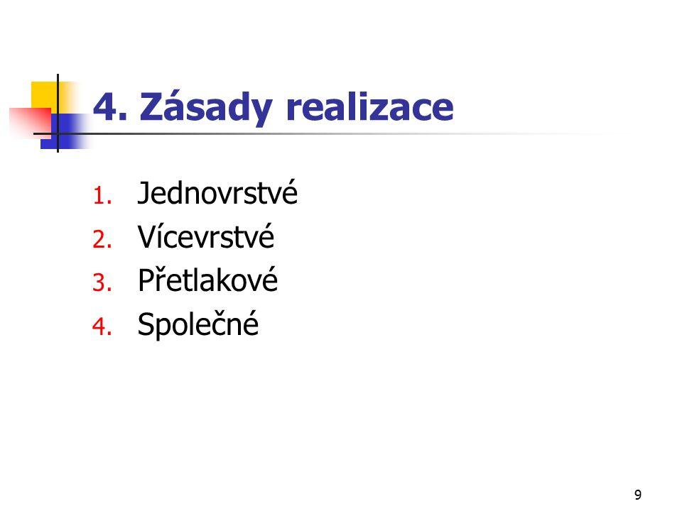 9 4. Zásady realizace 1. Jednovrstvé 2. Vícevrstvé 3. Přetlakové 4. Společné