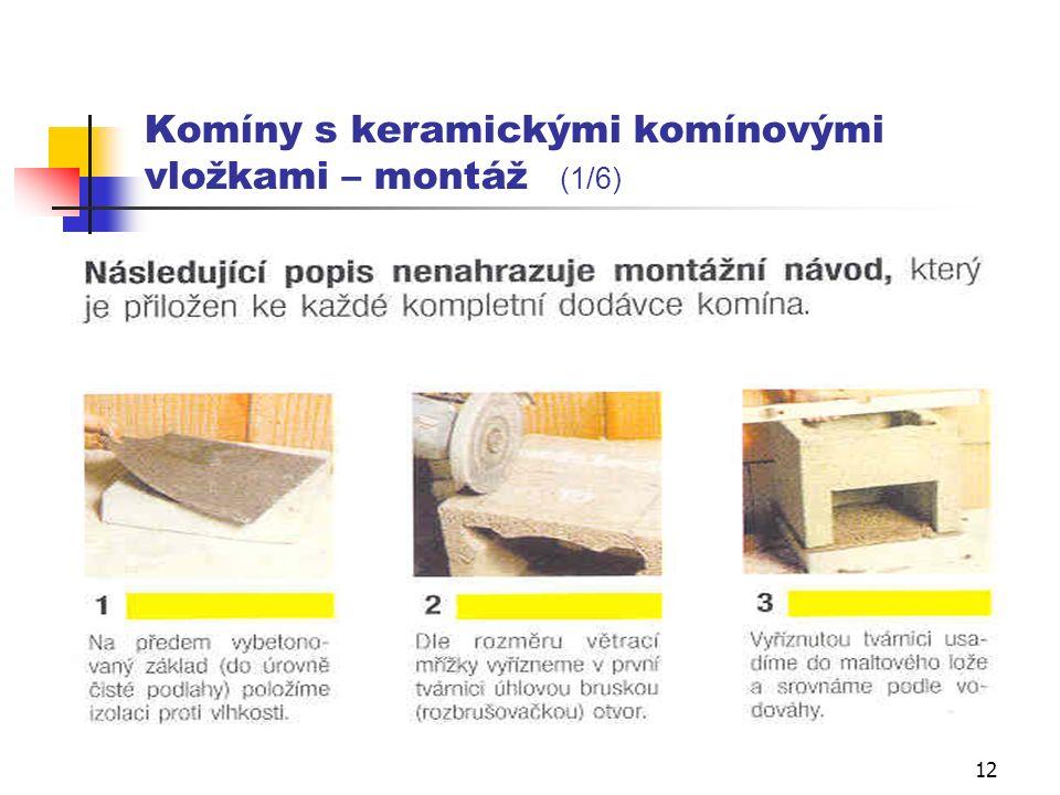 11 A1) komíny s keramickými komínovými vložkami BEZ ODVĚTRÁNÍ Zároveň s vyzdíváním pláště se osazují komínové vložky, přičemž jejich poloha je fixována skelným provazcem.