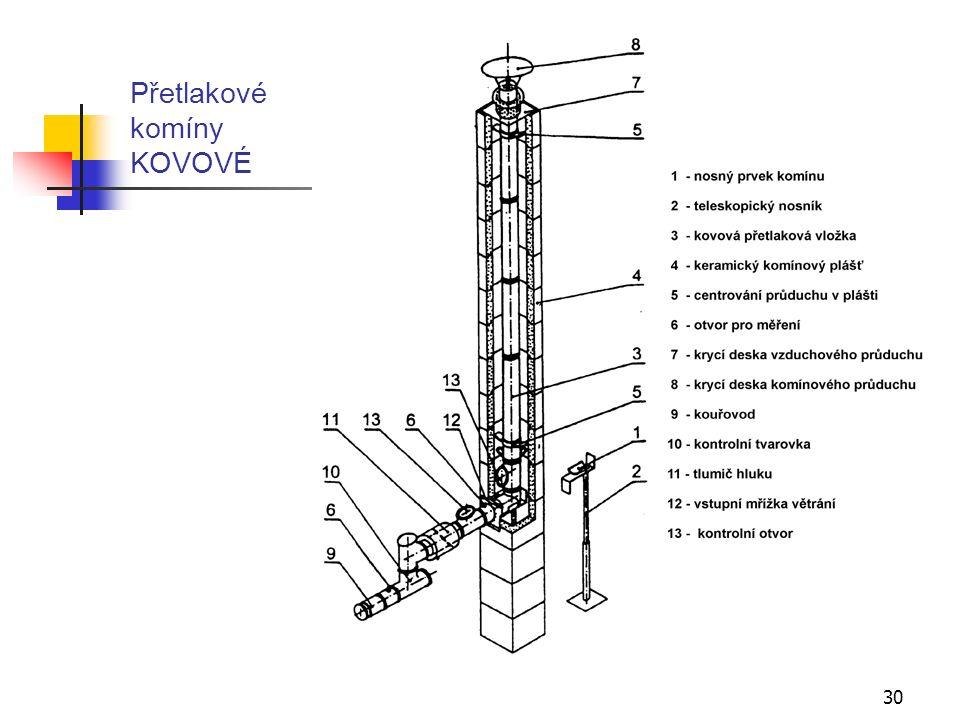 29 B) Přetlakové komíny KOVOVÉ Realizují se z ocelových trubek z nerezového plechu podélně plazmaticky svařované v ochranné atmosféře s oboustranně provedeným návalkem.