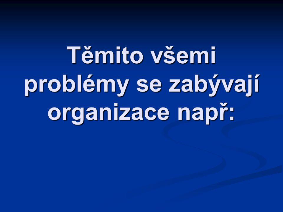 Těmito všemi problémy se zabývají organizace např: