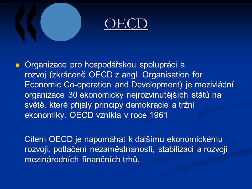 OECD Organizace pro hospodářskou spolupráci a rozvoj (zkráceně OECD z angl.