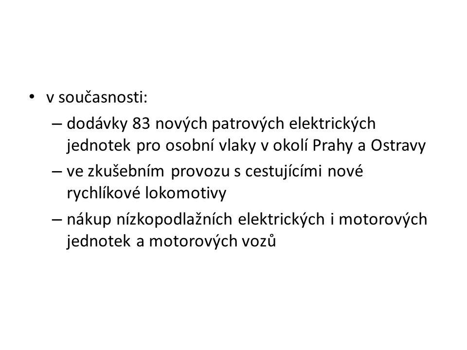 v současnosti: – dodávky 83 nových patrových elektrických jednotek pro osobní vlaky v okolí Prahy a Ostravy – ve zkušebním provozu s cestujícími nové rychlíkové lokomotivy – nákup nízkopodlažních elektrických i motorových jednotek a motorových vozů