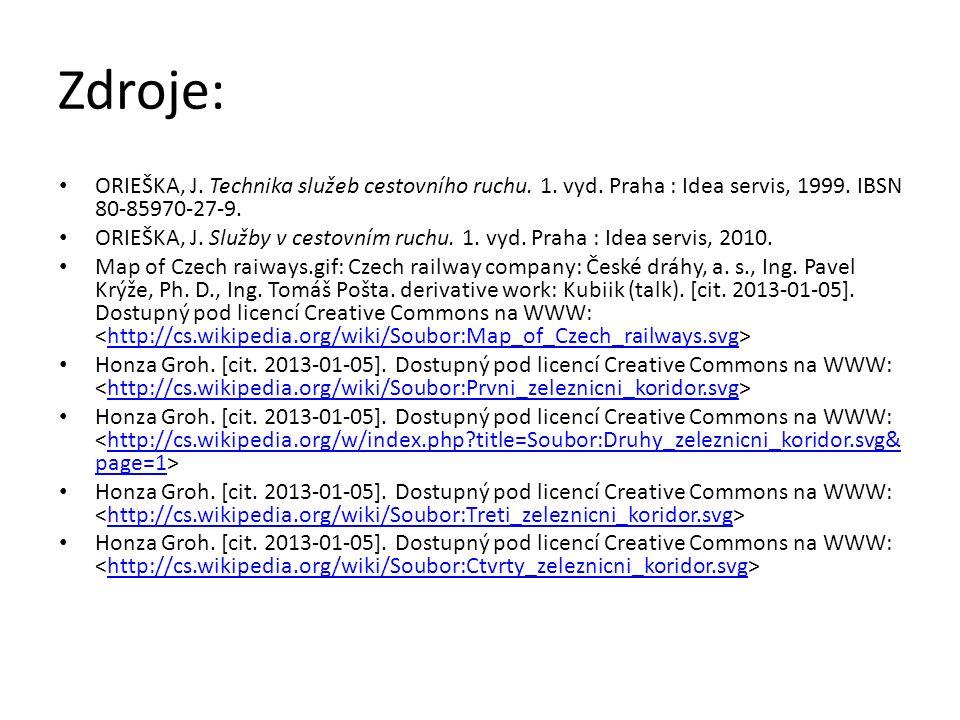 ORIEŠKA, J. Technika služeb cestovního ruchu. 1. vyd. Praha : Idea servis, 1999. IBSN 80-85970-27-9. ORIEŠKA, J. Služby v cestovním ruchu. 1. vyd. Pra