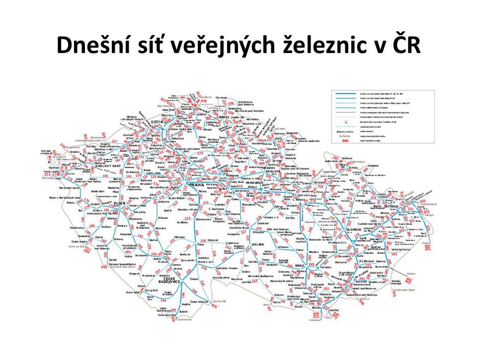 Dnešní síť veřejných železnic v ČR