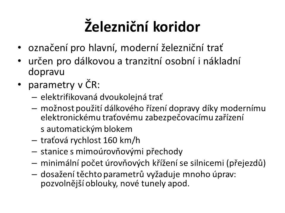 Železniční koridor označení pro hlavní, moderní železniční trať určen pro dálkovou a tranzitní osobní i nákladní dopravu parametry v ČR: – elektrifiko
