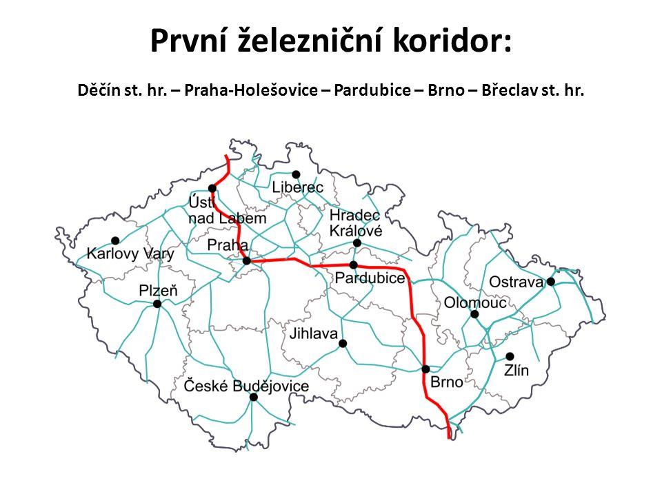 První železniční koridor: Děčín st. hr. – Praha-Holešovice – Pardubice – Brno – Břeclav st. hr.