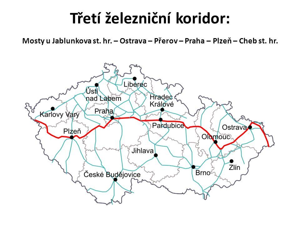 Třetí železniční koridor: Mosty u Jablunkova st. hr. – Ostrava – Přerov – Praha – Plzeň – Cheb st. hr.