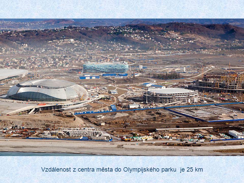 Vzdálenost z centra města do Olympijského parku je 25 km