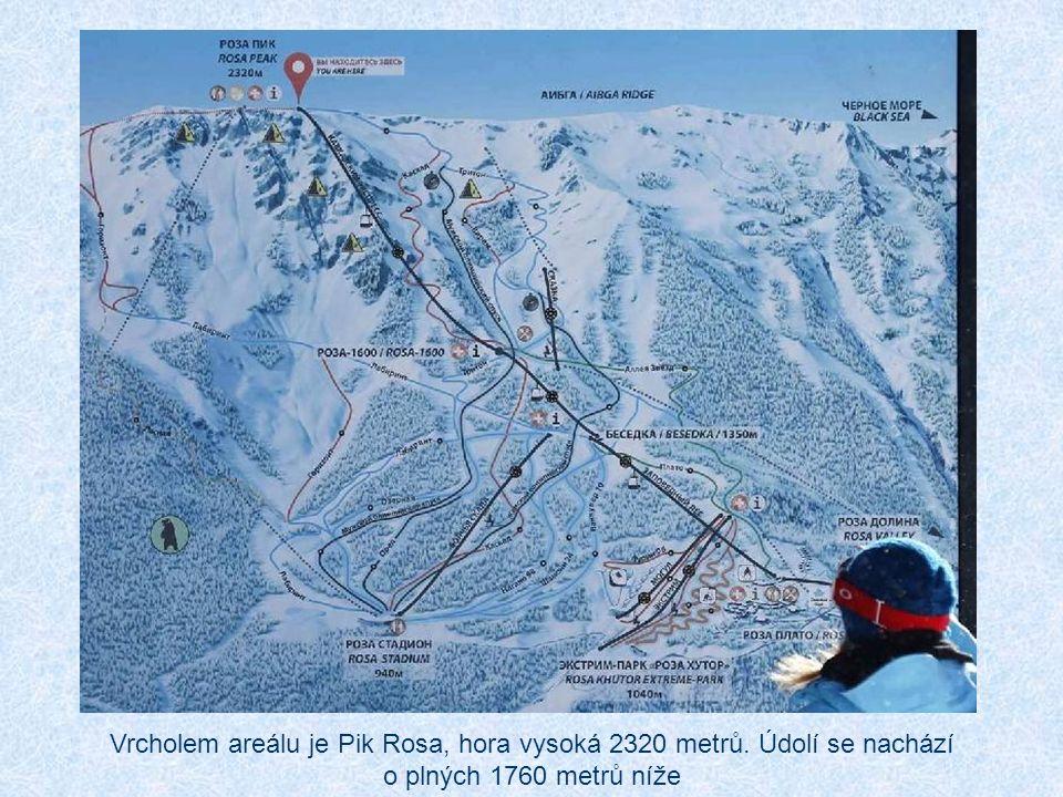 Vrcholem areálu je Pik Rosa, hora vysoká 2320 metrů. Údolí se nachází o plných 1760 metrů níže