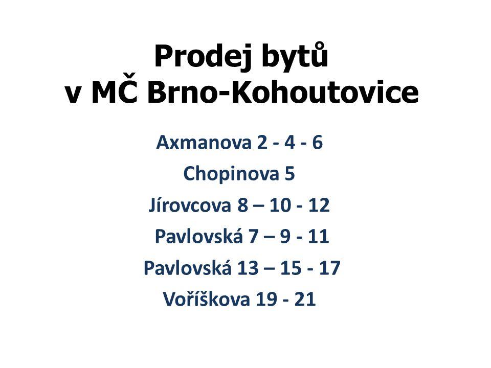 Prodej bytů v MČ Brno-Kohoutovice Axmanova 2 - 4 - 6 Chopinova 5 Jírovcova 8 – 10 - 12 Pavlovská 7 – 9 - 11 Pavlovská 13 – 15 - 17 Voříškova 19 - 21