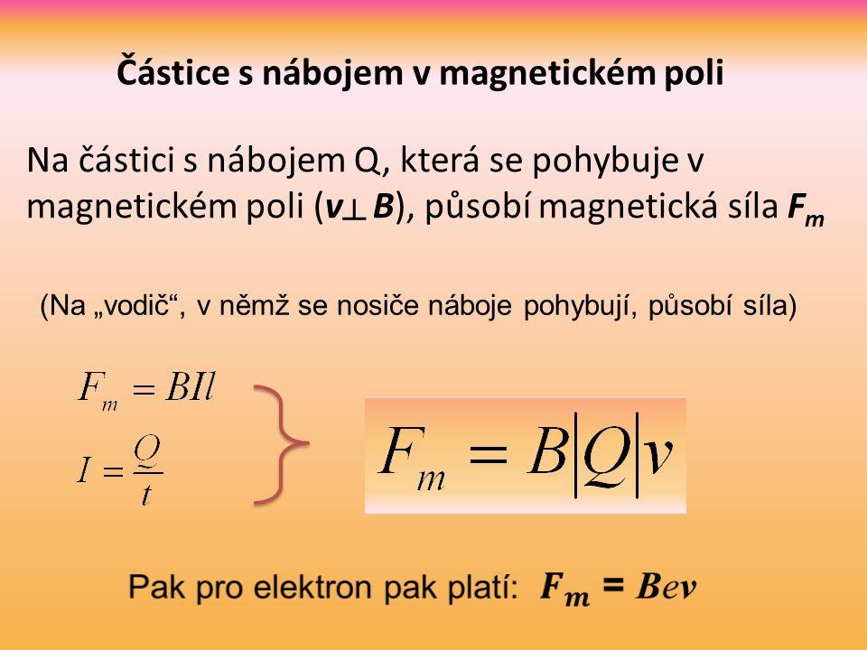 """Na částici s nábojem Q, která se pohybuje v magnetickém poli (v ┴ B), působí magnetická síla F m (Na """"vodič , v němž se nosiče náboje pohybují, působí síla)"""