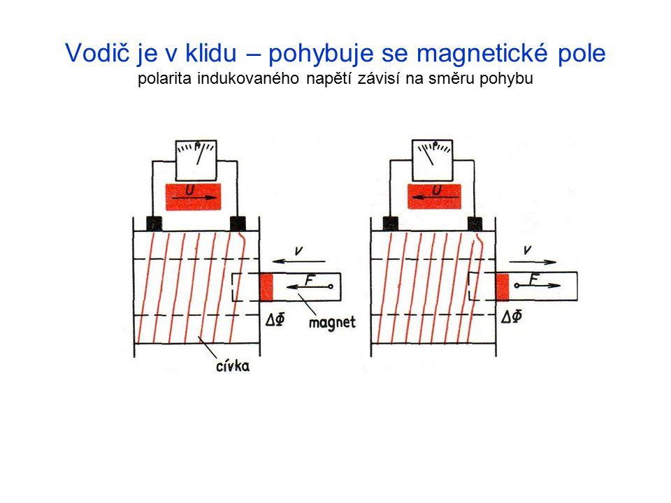 Vodič je v klidu – pohybuje se magnetické pole polarita indukovaného napětí závisí na směru pohybu