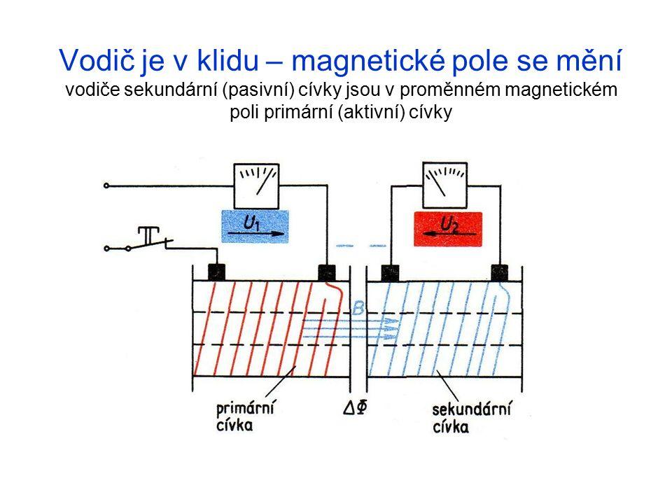 Vodič je v klidu – magnetické pole se mění vodiče sekundární (pasivní) cívky jsou v proměnném magnetickém poli primární (aktivní) cívky