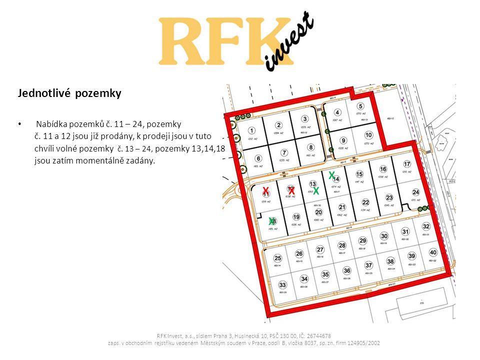 Jednotlivé pozemky Nabídka pozemků č. 11 – 24, pozemky č. 11 a 12 jsou již prodány, k prodeji jsou v tuto chvíli volné pozemky č. 13 – 24, pozemky 13,