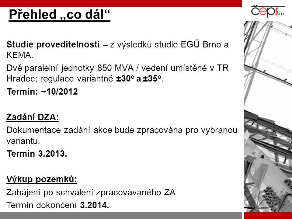 """Přehled """"co dál"""" Studie proveditelnosti – z výsledků studie EGÚ Brno a KEMA. Dvě paralelní jednotky 850 MVA / vedení umístěné v TR Hradec; regulace va"""