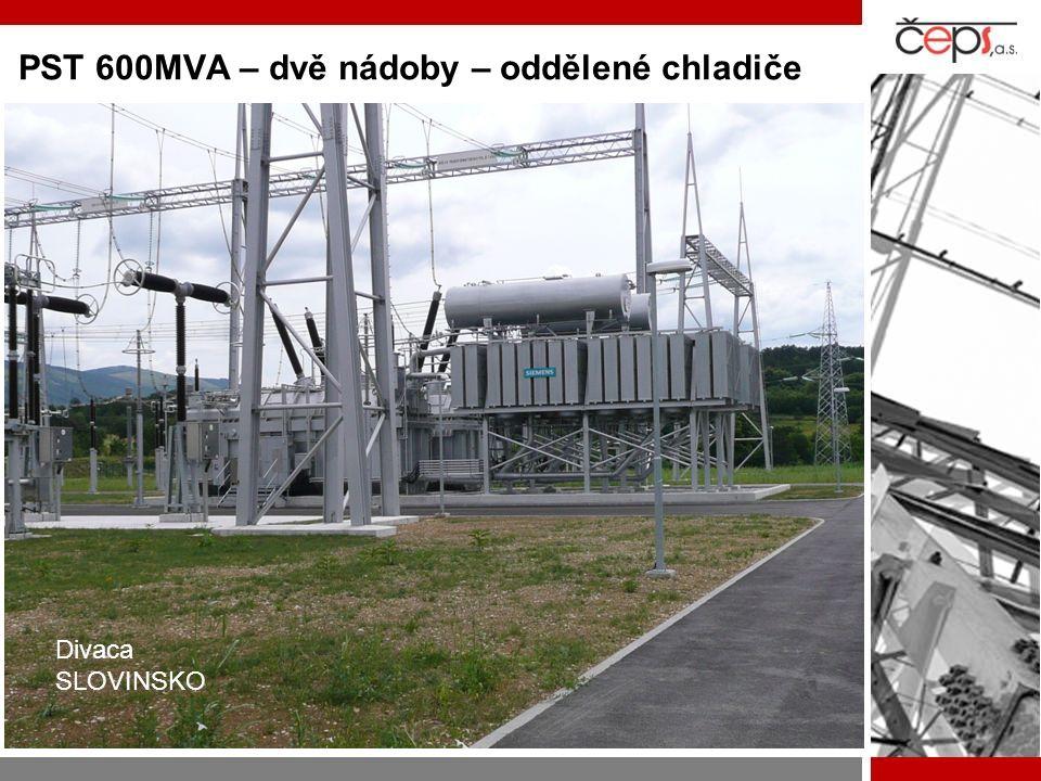 PST 600MVA – dvě nádoby – oddělené chladiče Divaca SLOVINSKO