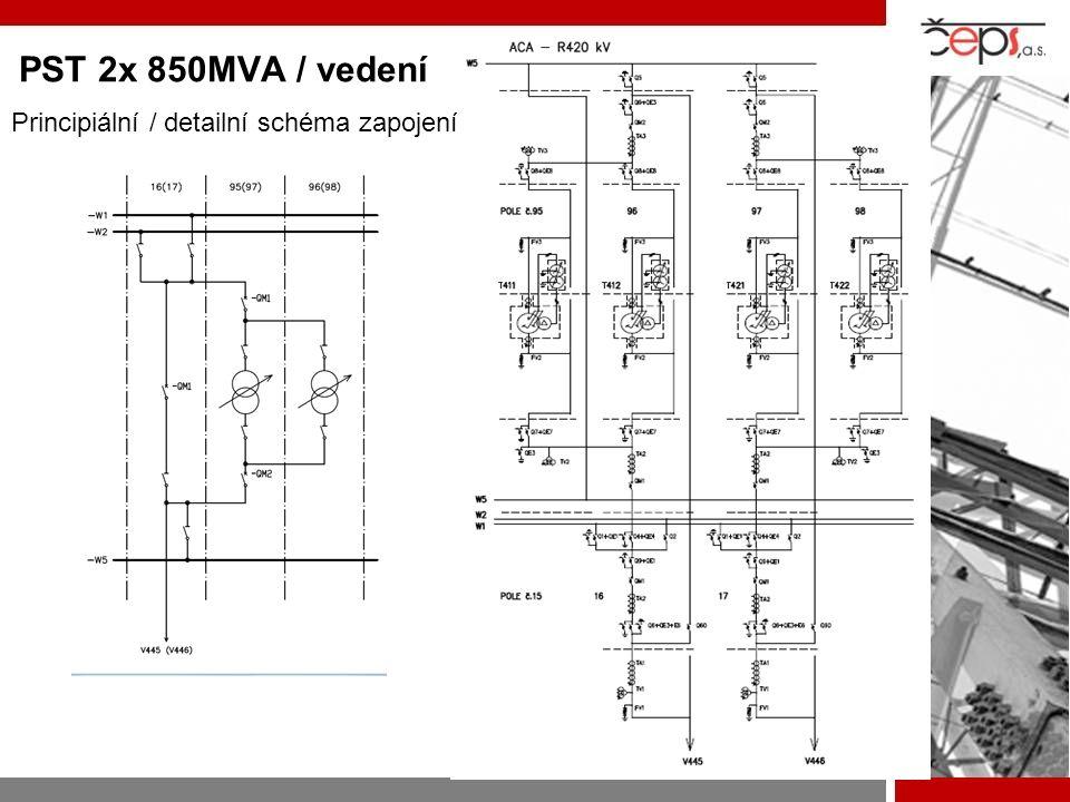 PST 2x 850MVA / vedení s/s Divaca SLO Principiální / detailní schéma zapojení
