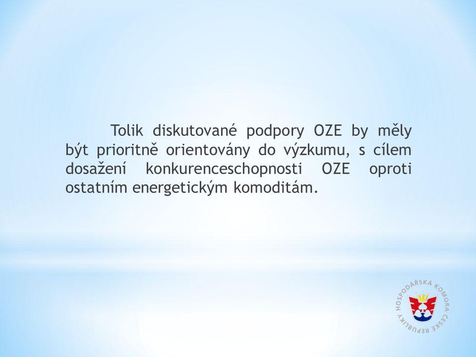 Tolik diskutované podpory OZE by měly být prioritně orientovány do výzkumu, s cílem dosažení konkurenceschopnosti OZE oproti ostatním energetickým komoditám.