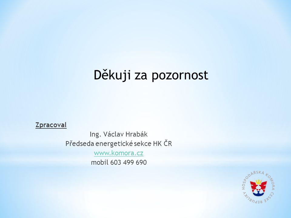 Zpracoval Ing. Václav Hrabák Předseda energetické sekce HK ČR www.komora.cz mobil 603 499 690 Děkuji za pozornost