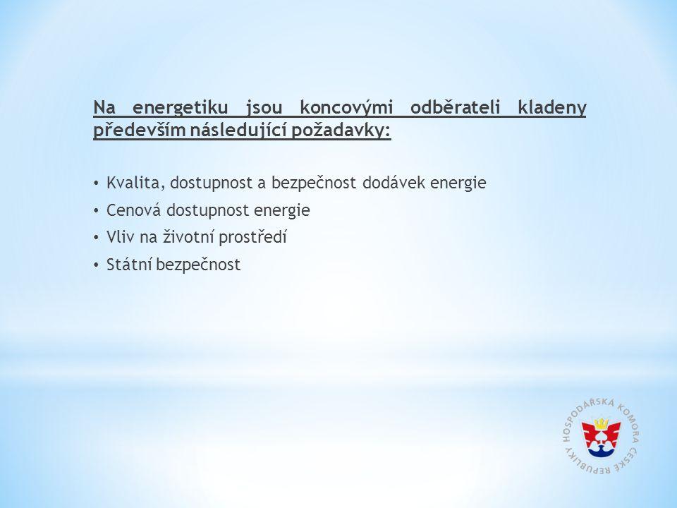 Na energetiku jsou koncovými odběrateli kladeny především následující požadavky: Kvalita, dostupnost a bezpečnost dodávek energie Cenová dostupnost energie Vliv na životní prostředí Státní bezpečnost