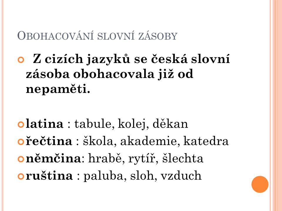 O BOHACOVÁNÍ SLOVNÍ ZÁSOBY Z cizích jazyků se česká slovní zásoba obohacovala již od nepaměti.