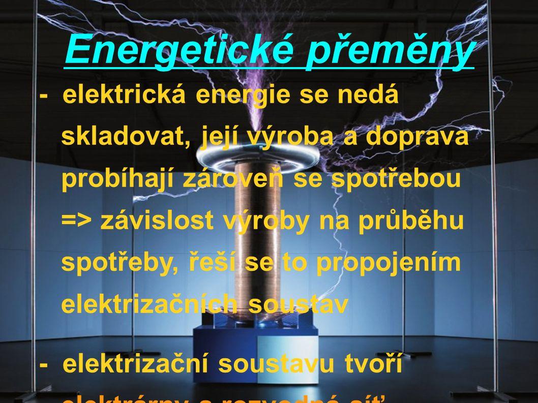 Energetické přeměny - elektrická energie se nedá skladovat, její výroba a doprava probíhají zároveň se spotřebou => závislost výroby na průběhu spotřeby, řeší se to propojením elektrizačních soustav - elektrizační soustavu tvoří elektrárny a rozvodná síť