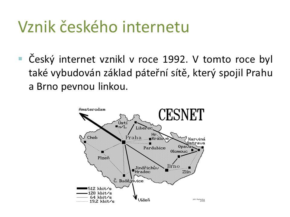  Český internet vznikl v roce 1992.