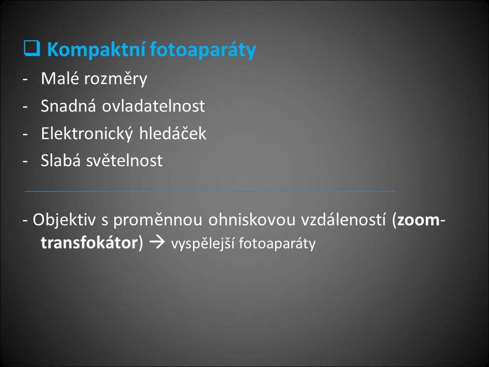  Kompaktní fotoaparáty -Malé rozměry -Snadná ovladatelnost -Elektronický hledáček -Slabá světelnost - Objektiv s proměnnou ohniskovou vzdáleností (zoom- transfokátor)  vyspělejší fotoaparáty