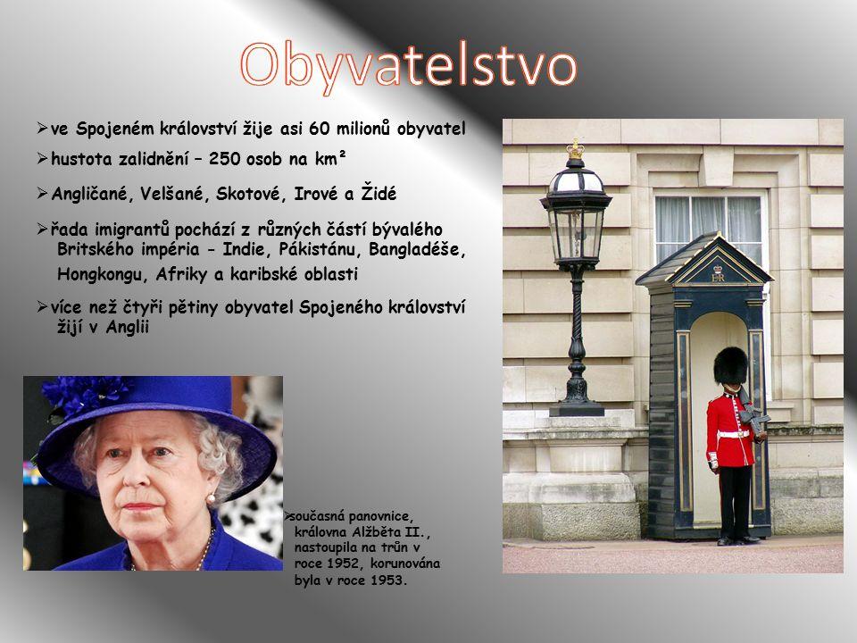  ve Spojeném království žije asi 60 milionů obyvatel  hustota zalidnění – 250 osob na km²  Angličané, Velšané, Skotové, Irové a Židé  řada imigrantů pochází z různých částí bývalého Britského impéria - Indie, Pákistánu, Bangladéše, Hongkongu, Afriky a karibské oblasti  více než čtyři pětiny obyvatel Spojeného království žijí v Anglii  současná panovnice, královna Alžběta II., nastoupila na trůn v roce 1952, korunována byla v roce 1953.