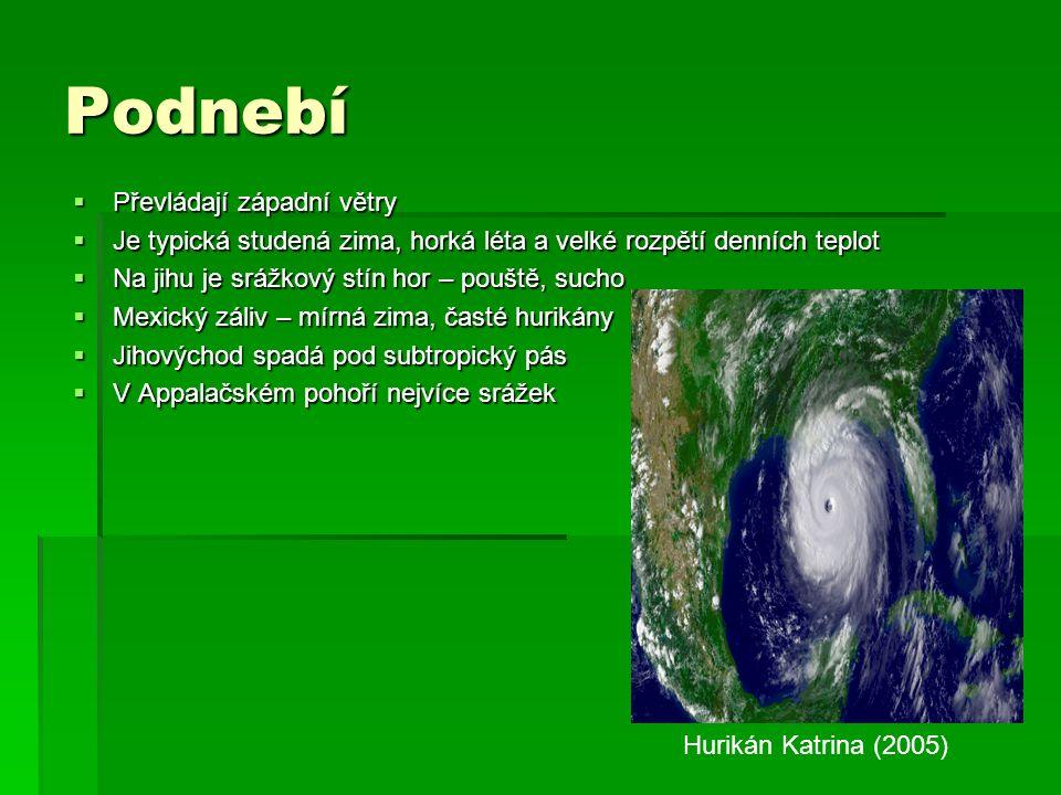 Podnebí  Převládají západní větry  Je typická studená zima, horká léta a velké rozpětí denních teplot  Na jihu je srážkový stín hor – pouště, sucho  Mexický záliv – mírná zima, časté hurikány  Jihovýchod spadá pod subtropický pás  V Appalačském pohoří nejvíce srážek Hurikán Katrina (2005)