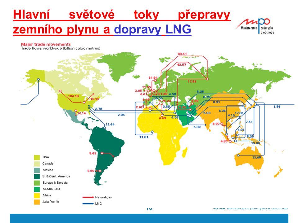  2004  Ministerstvo průmyslu a obchodu 10 Hlavní světové toky přepravy zemního plynu a dopravy LNG