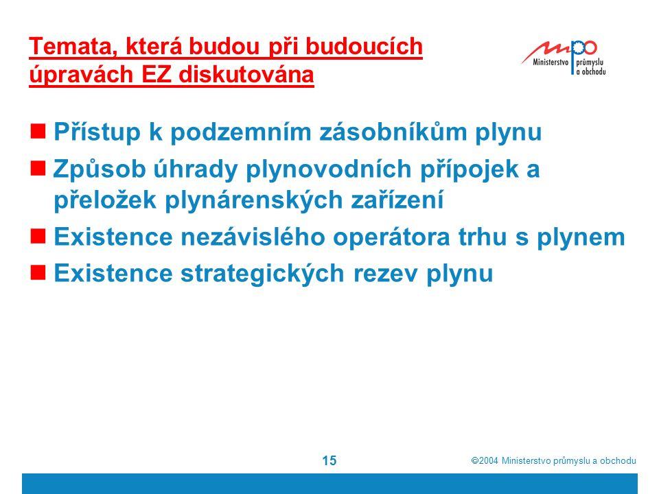  2004  Ministerstvo průmyslu a obchodu 15 Temata, která budou při budoucích úpravách EZ diskutována Přístup k podzemním zásobníkům plynu Způsob úhr