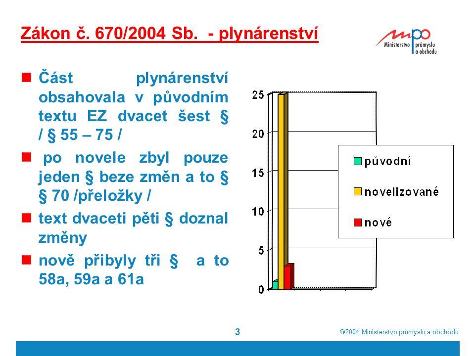  2004  Ministerstvo průmyslu a obchodu 3 Zákon č. 670/2004 Sb. - plynárenství Část plynárenství obsahovala v původním textu EZ dvacet šest § / § 55