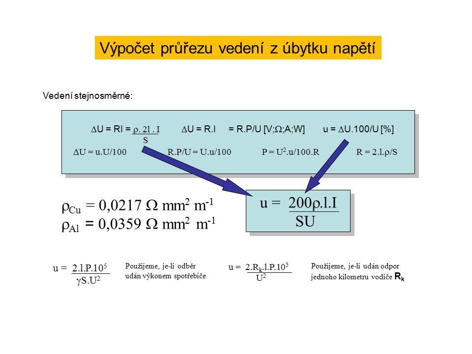 Výpočet průřezu vedení z úbytku napětí Vedení stejnosměrné:  U = RI =  2l.
