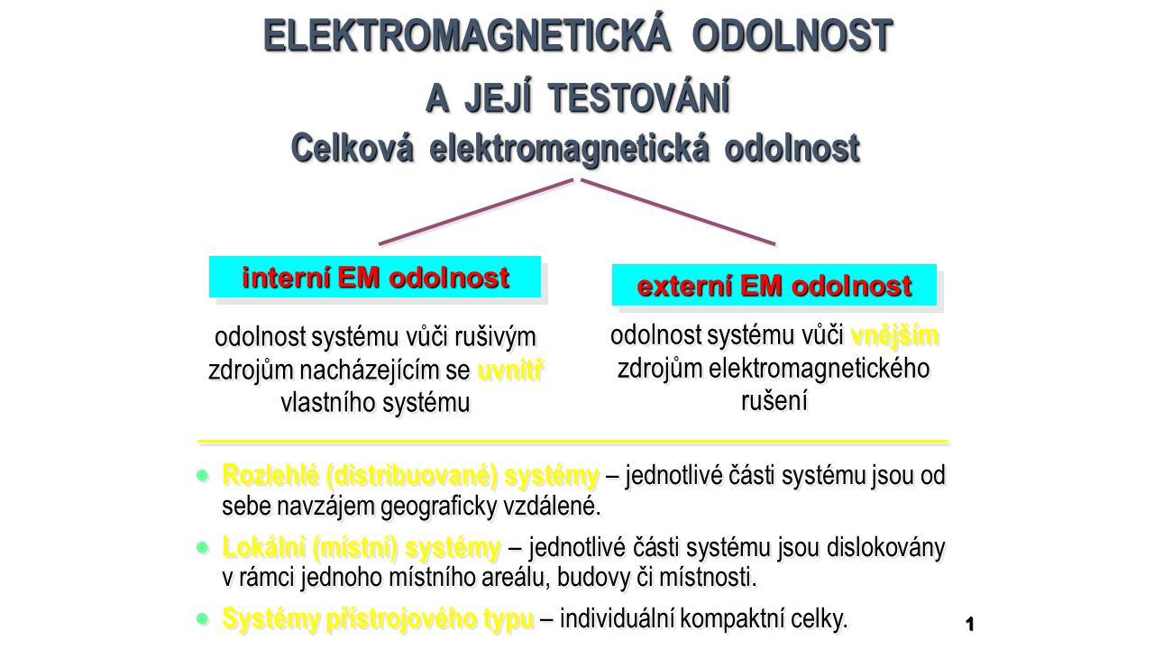 1 ELEKTROMAGNETICKÁ ODOLNOST A JEJÍ TESTOVÁNÍ ELEKTROMAGNETICKÁ ODOLNOST A JEJÍ TESTOVÁNÍ Celková elektromagnetická odolnost interní EM odolnost externí EM odolnost odolnost systému vůči rušivým zdrojům nacházejícím se uvnitř vlastního systému odolnost systému vůči vnějším zdrojům elektromagnetického rušení  Rozlehlé (distribuované) systémy – jednotlivé části systému jsou od sebe navzájem geograficky vzdálené.