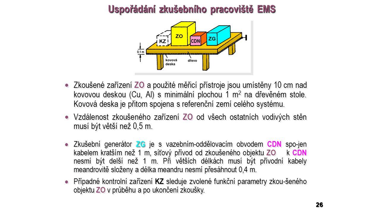 26 Uspořádání zkušebního pracoviště EMS  Zkoušené zařízení ZO a použité měřicí přístroje jsou umístěny 10 cm nad kovovou deskou (Cu, Al) s minimální plochou 1 m 2 na dřevěném stole.